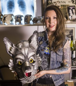 Ruth with a model wolf's head