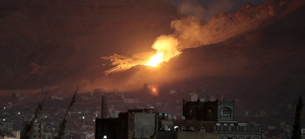 Fire and smoke rise after a Saudi-led airstrike hit a site believed to be one of the largest weapons depots on the outskirts of Yemen's capital, Sanaa