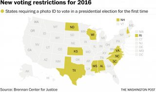 Map of states with new voter ID laws
