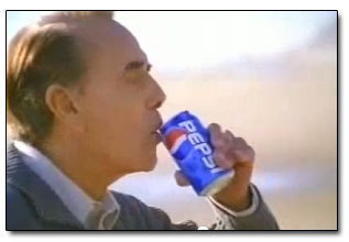 Bob Dole drinking Pepsi for a commercial.