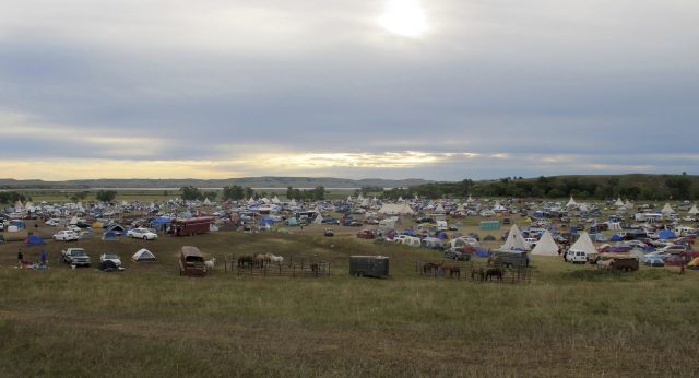 Image of protesters camp in North Dakota