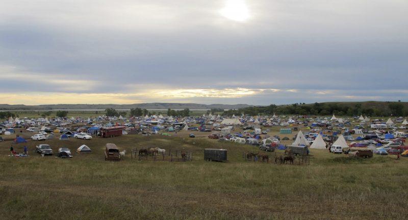 Image of protesters camp in North Dakota