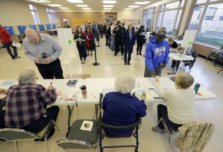 People wait in line to vote
