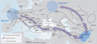 Map showing route opium takes from Afghanistan to Europe