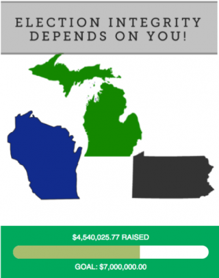 Graphic showing how much the Green party has raised for a recount