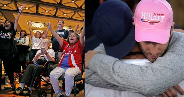 Trump supporters celebrate and Clinton supporters console each other.