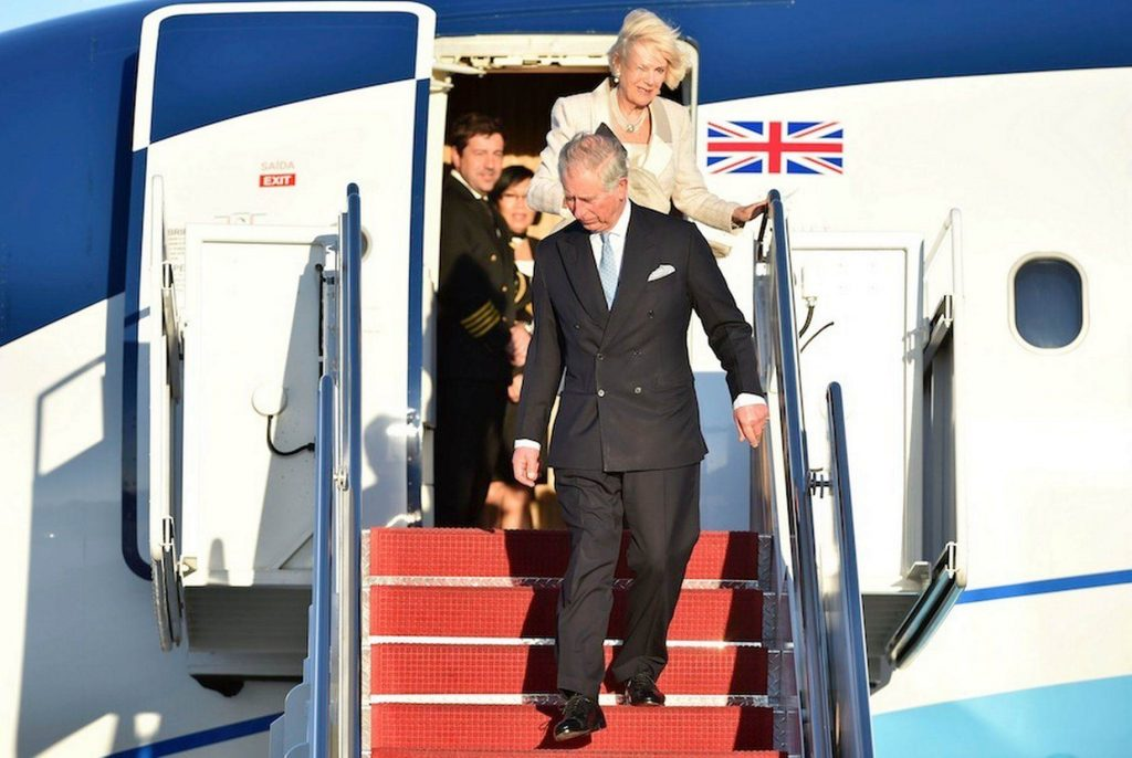 Prince Charles in a private jet.