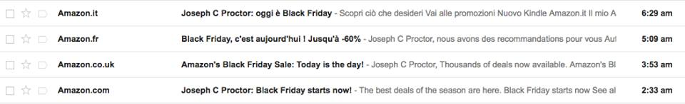 Amazon emails in different languages