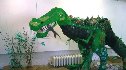 Dinosaur made of trash