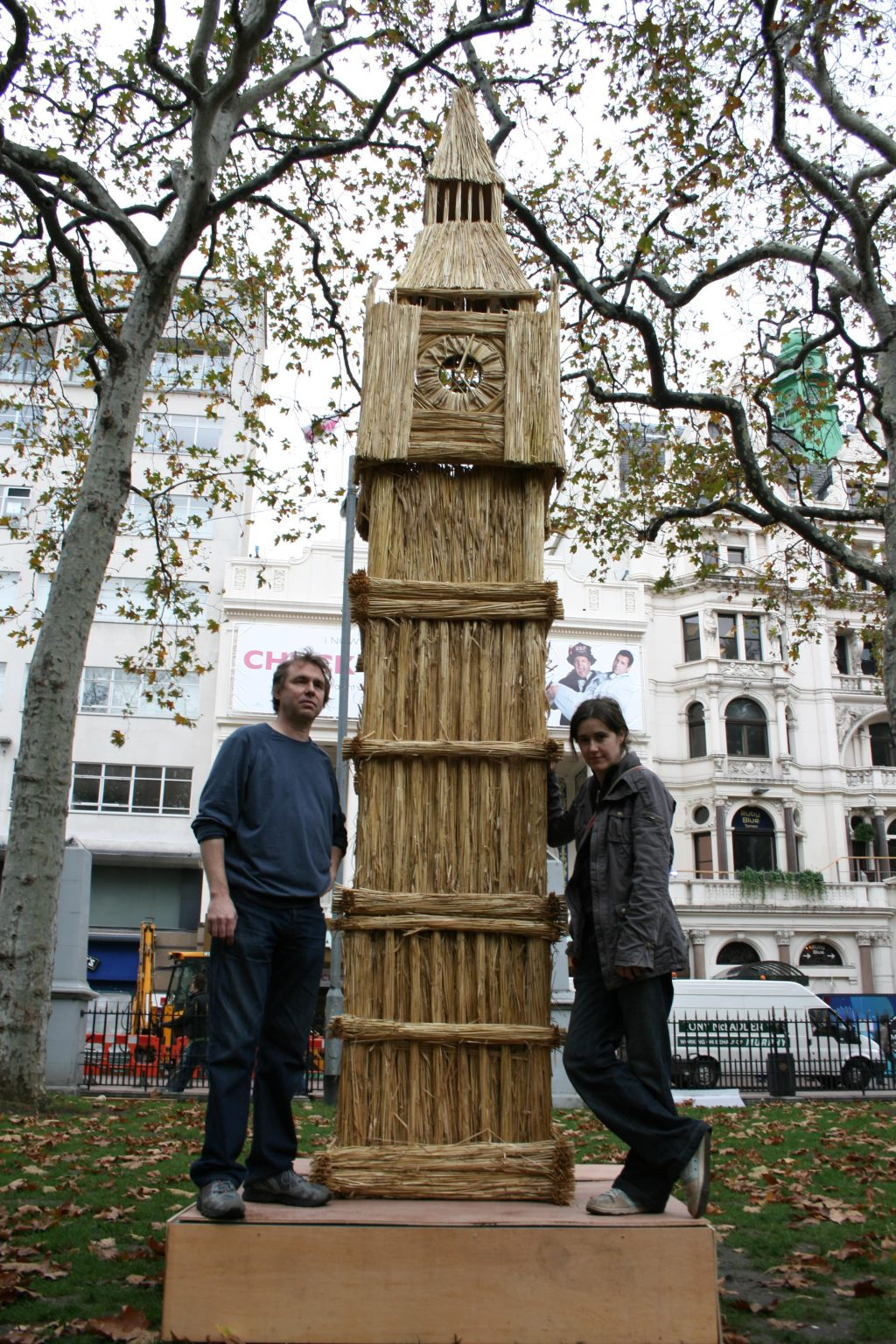 Artist with Big Ben made of wheat
