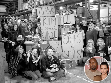 Kim and Kayne give shoes to people