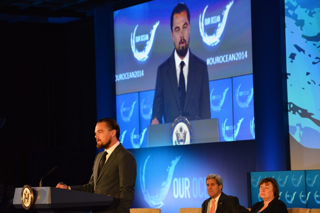 Leonardo DiCaprio gives a speech at the Our Ocean Conference.
