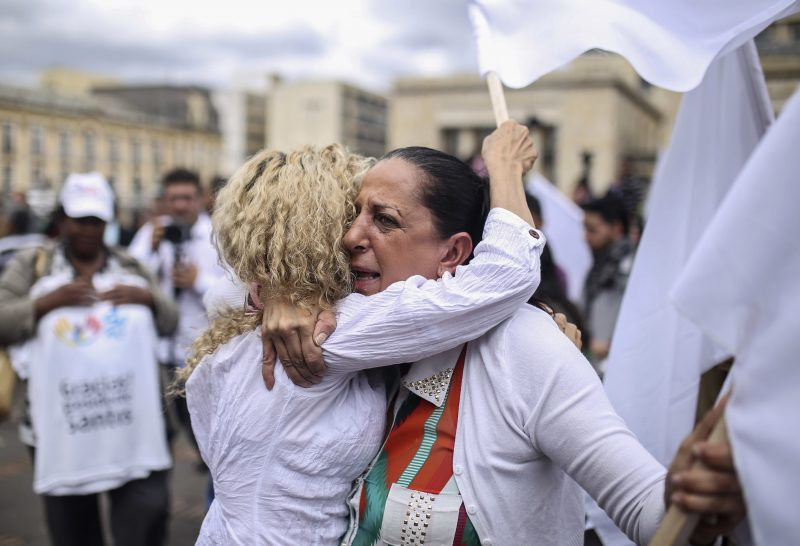 Colombians celebrate the peace deal