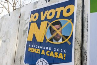 Poster saying to vote no on the Italian referendum