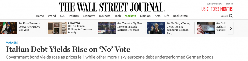 Italian debt yield rises on no vote