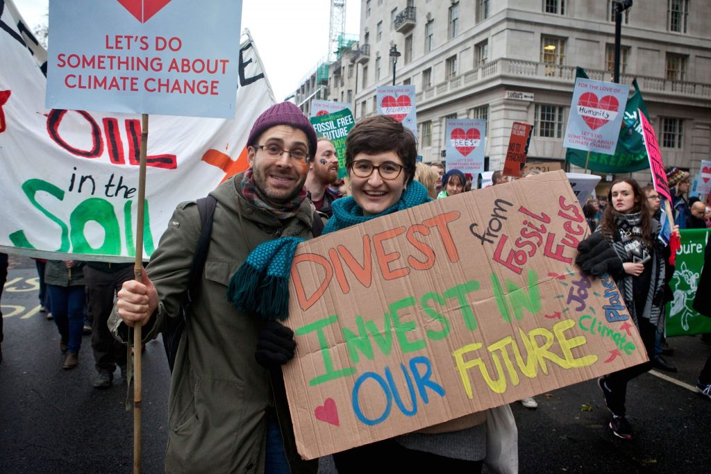 Fossil Free campaigners in London.