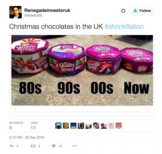 Twitter image of Terry's Chocolates shrinking.