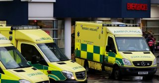 Ambulances outside a hospital