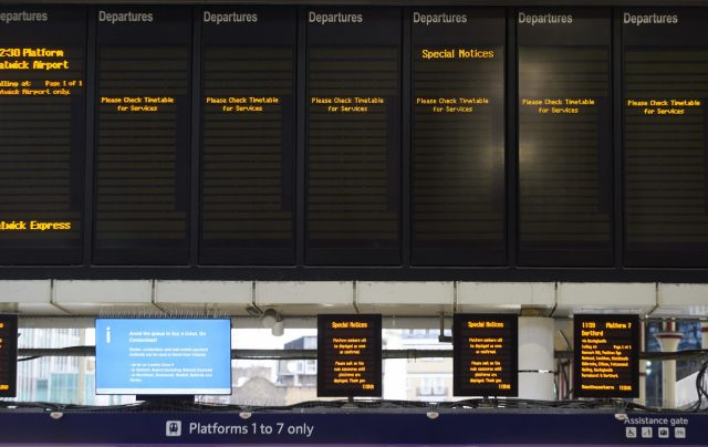 Departure boards, Southern Rail strikes.