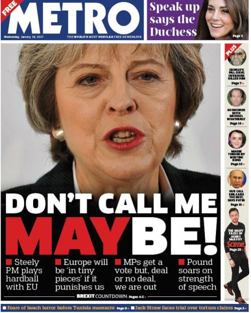Metro Brexit cover