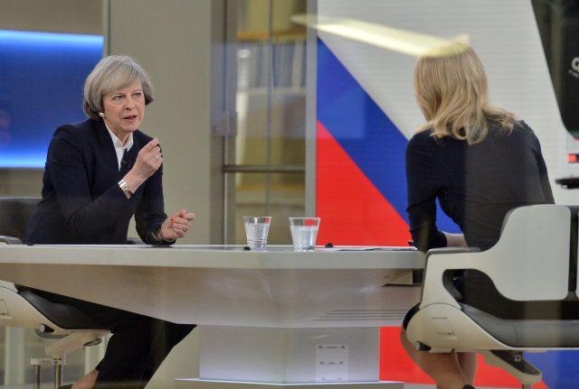 Theresa May talks to Sophy Ridge on Sky News