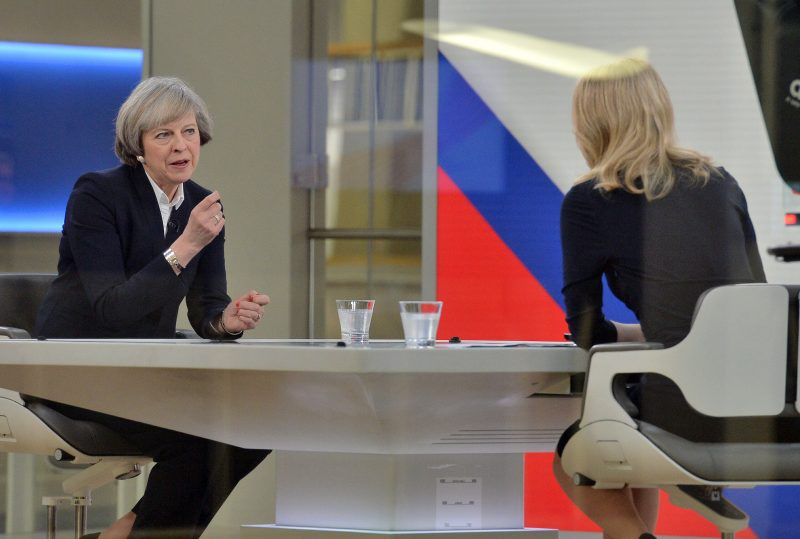 Theresa May talks to Sophy Ridge on Sky News