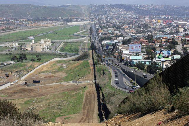 El Centro, CA, Border fence between Mexico and the USA.