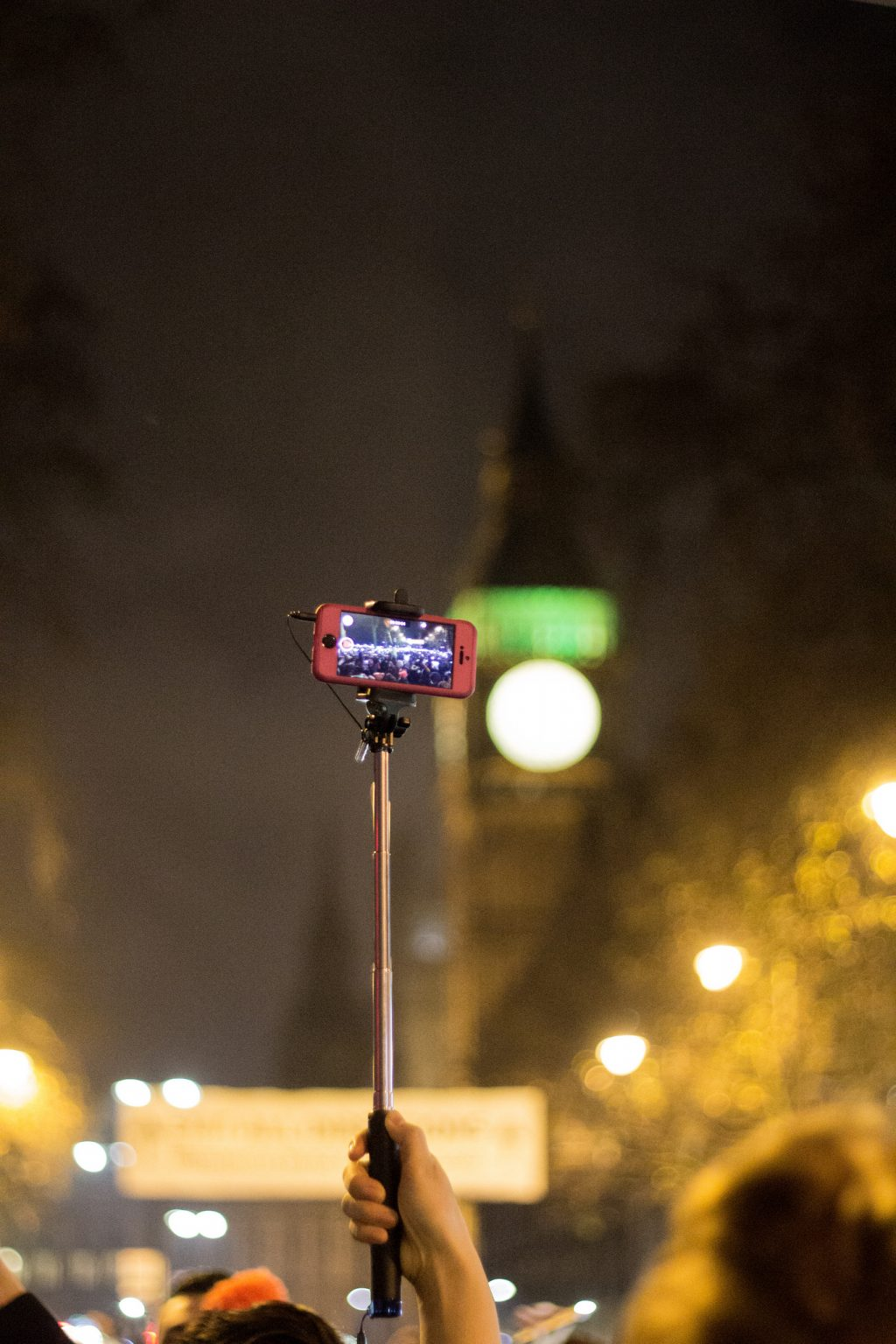 Selfie stick with Big Ben in background