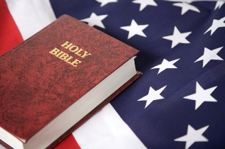 Bible and an American flag.