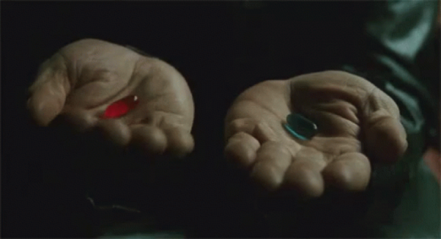 Hands holding pills