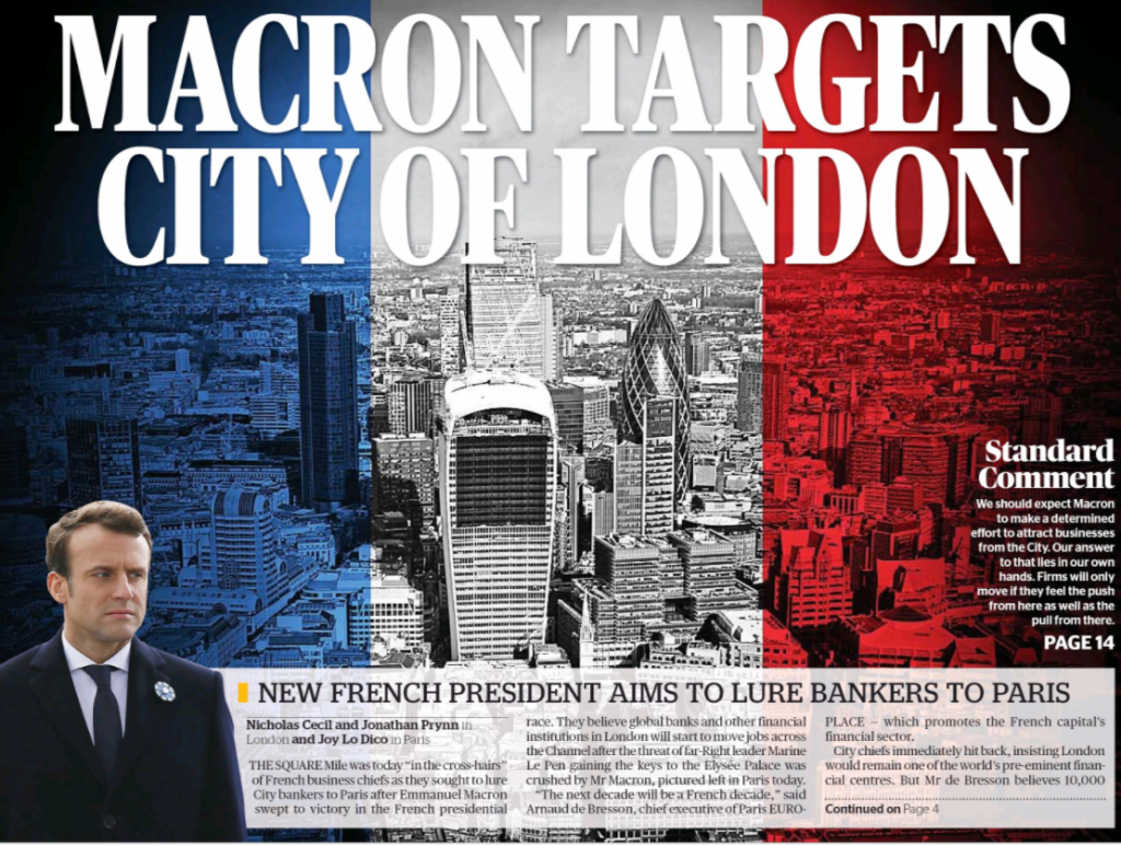 Macron Targets City Of London – Evening Standard Cover