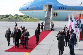 Donald Trump arrives in Hamburg