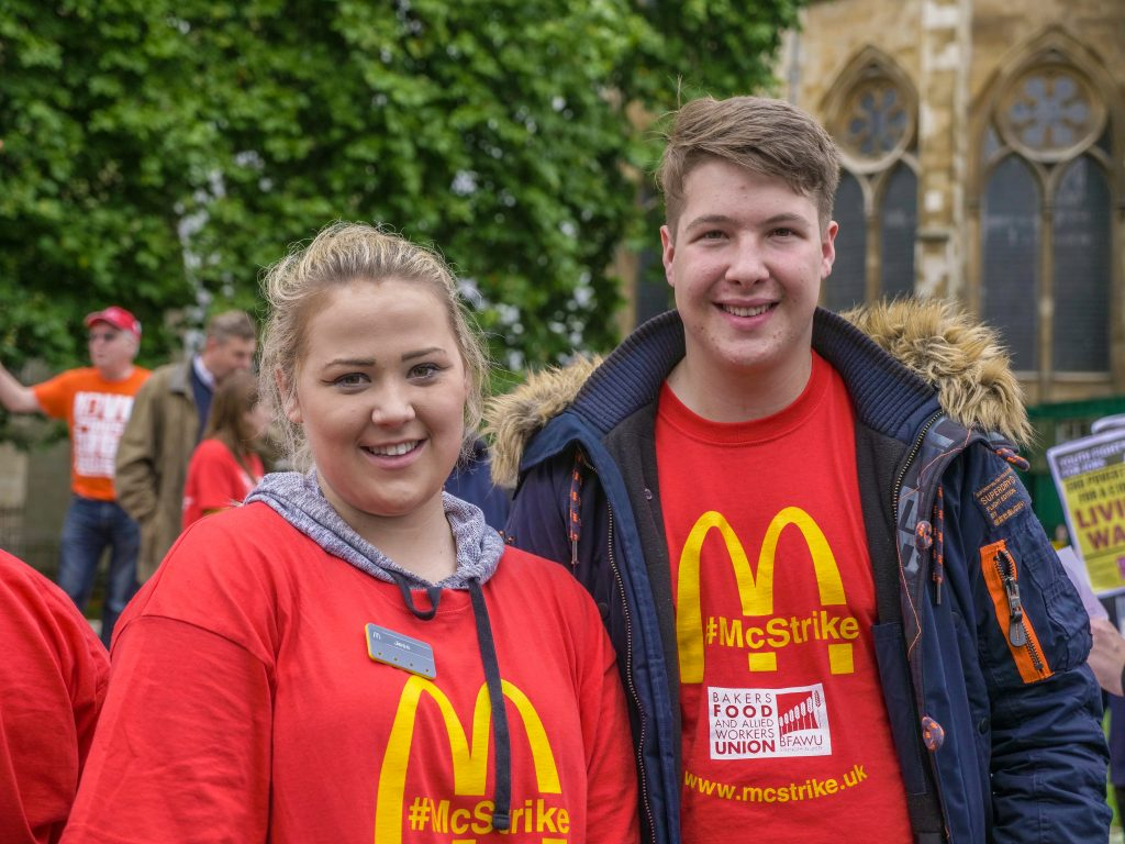 McDonald's staff gather in Cornmarket in support of colleagues threatening strike action