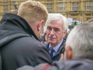John McDonnell speaking to journalists