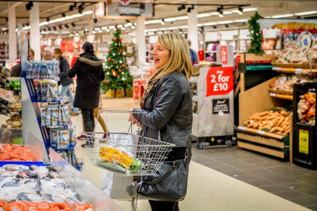 tesco supermarket shopper happy